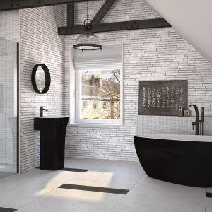Wyposażenie łazienki, w tym wolnostojąca wanna marki Besco w modnej czerni. Fot. Besco