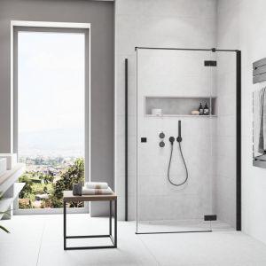 Kabina prysznicowa z czarnymi profilami Essenza KDJ Black marki Radaway. Fot. Radaway
