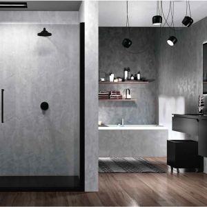 Drzwi wnękowe z czarnymi profilami Young 2.0. marki Novellini. Fot. Novellini
