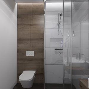 Projekt łazienki na parterze, która może posłużyć za łazienkę dla gości. Proj. MGN Pracowania Projektowa