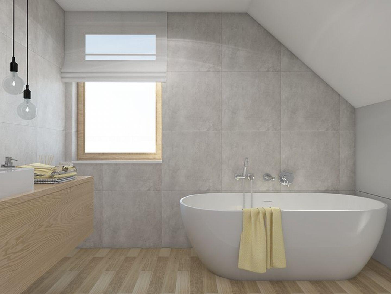 Projekt łazienki na piętrze w konwencji salonu kąpielowego.Proj. MGN Pracowania Projektowa
