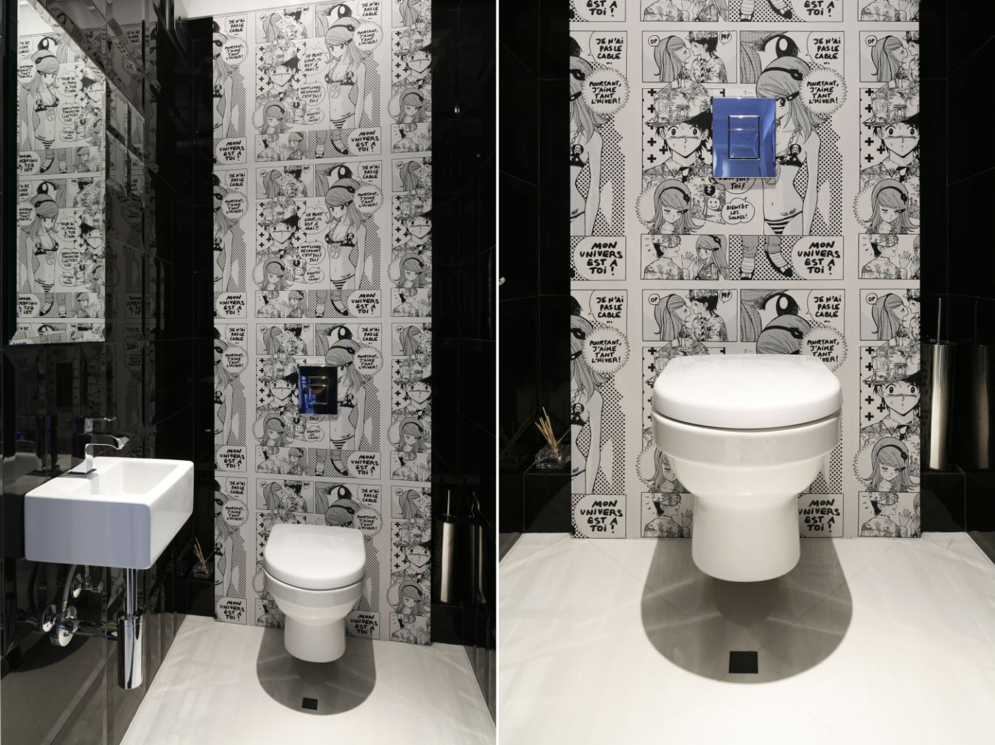 Pomysł na ścianę w łazience. Proj. Magdalena Smyk. Fot. Bartosz Jarosz