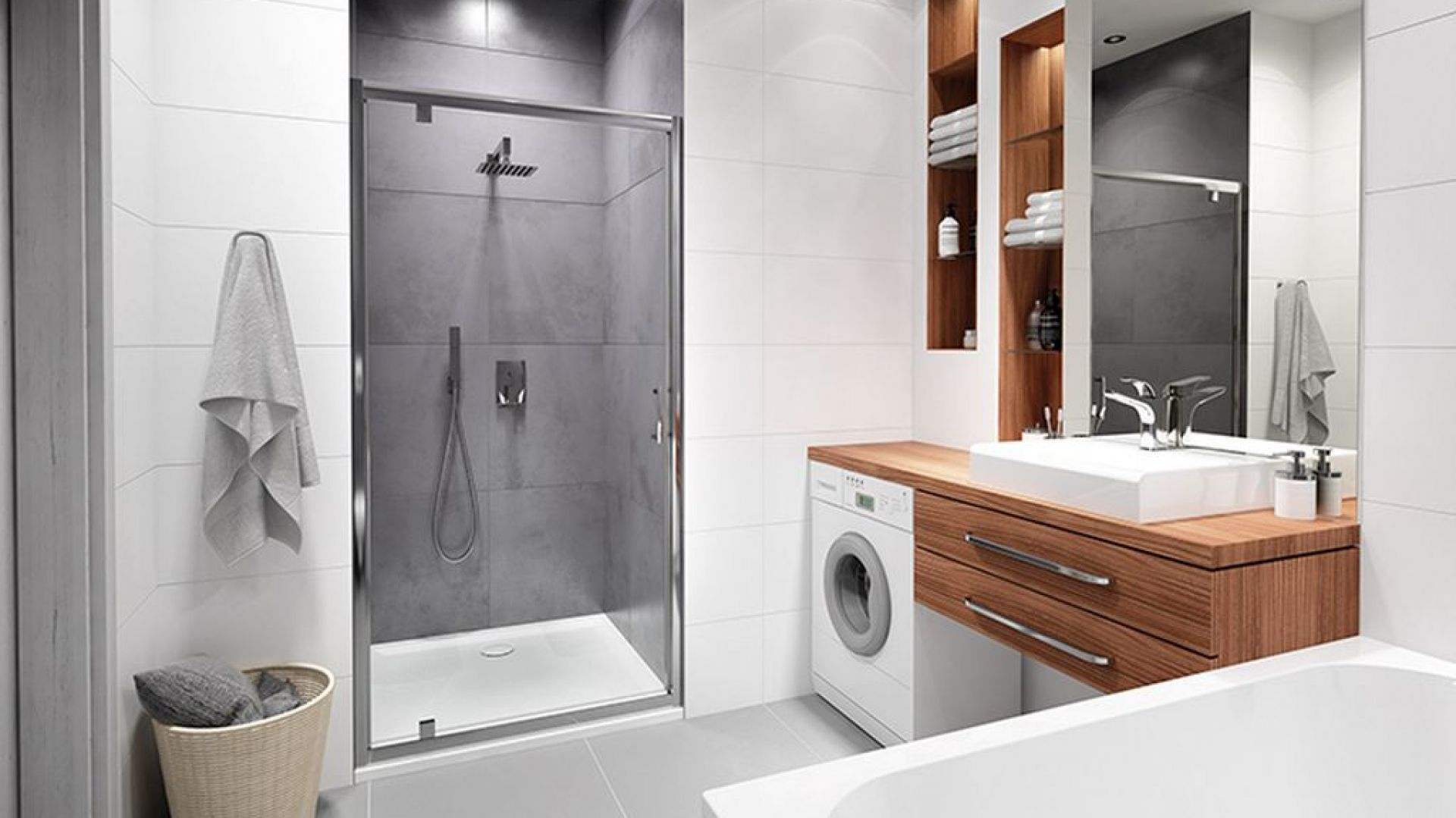 Aranżacja małej łazienki w minimalistycznym stylu. Fot. Sanplast