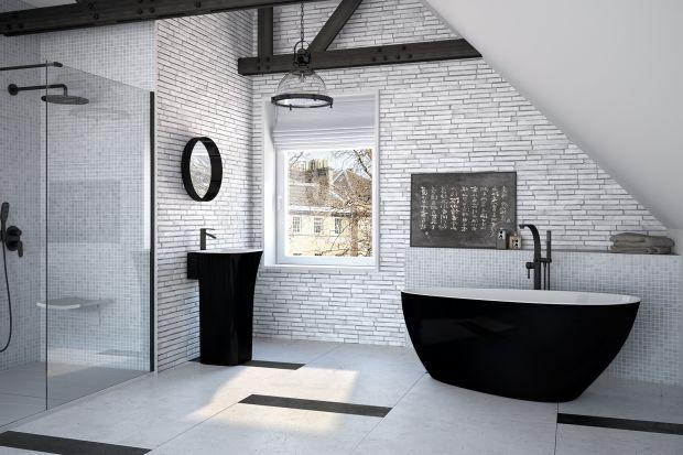 Biel i czerń to ponadczasowy elegancki duet kolorystyczny. Dlaczego nie wprowadzić go do łazienki za pomocą czarno-białej wanny?