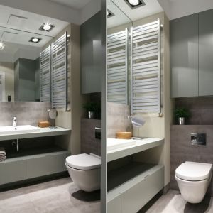 Pomysł na szafki w łazience. Proj. Lucyna Kołodziejska. Fot. Bartosz Jarosz
