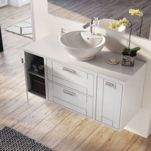Pomysł na fronty meblowe: meble łazienkowe z kolekcji Inge marki Elita. Fot. Elita
