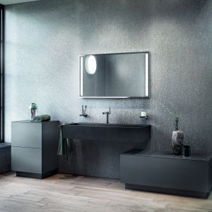 Pomysł na fronty meblowe: meble łazienkowe z kolekcji Edition 90 marki Keuco. Fot. Keuco