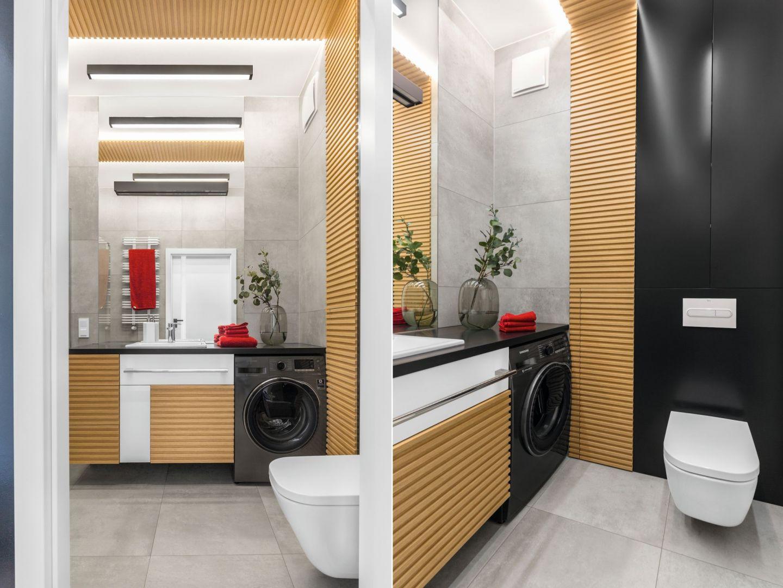 Pomysł na łazienkę z pralką. Proj. Joanna Rej. Fot. Pion Poziom