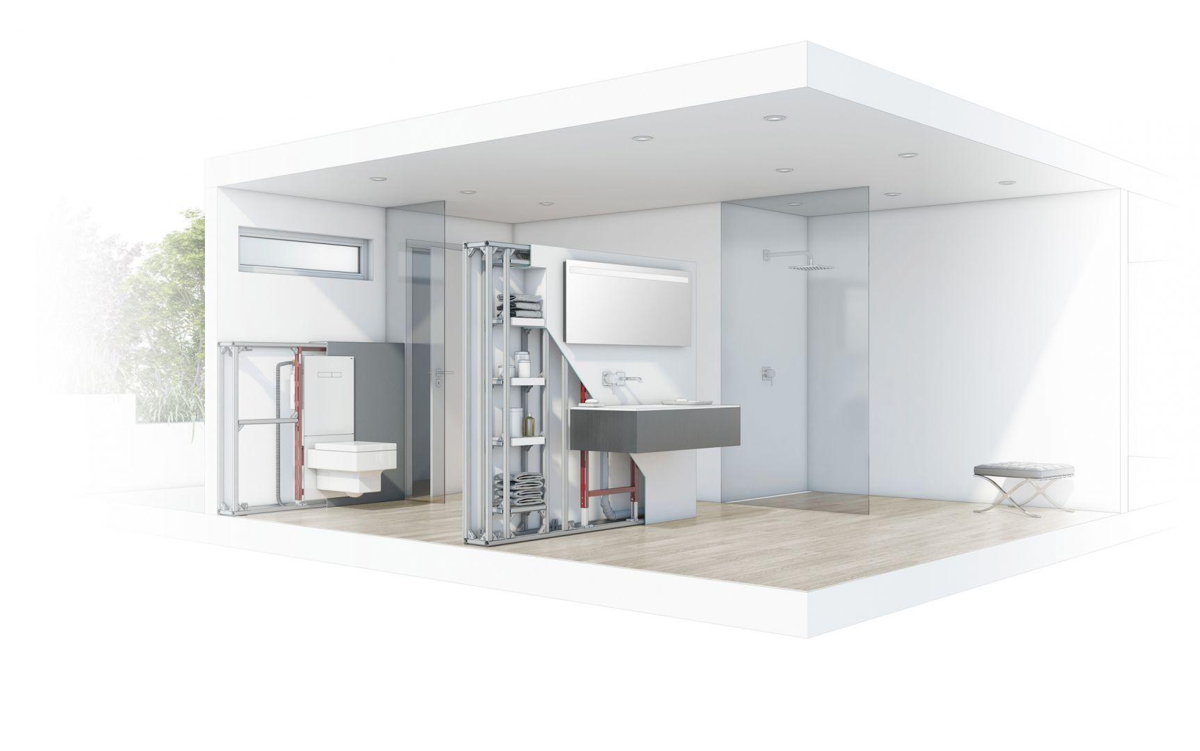 Projekt łazienki z instalacjami. Fot. TECE