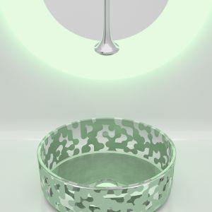 Umywalka z kolekcji Marea w kolorze Sage Green. Proj. Karim Rashid. Fot. Glass Design