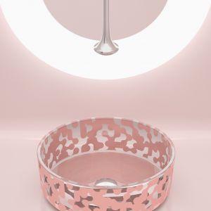Zaprojektowana przez Karima Rashida umywalka z kolekcji Marea marki Glass Design. Na zdj. kolor Powder Pink. Fot. Glass Design
