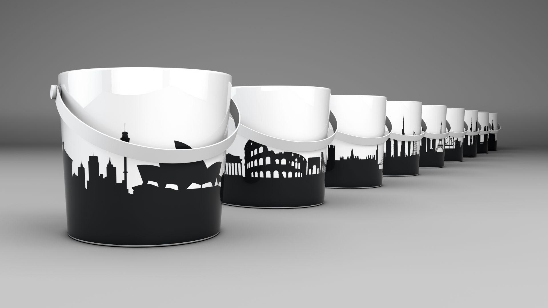Umywalki z serii Bucket marki Scarabeo Ceramiche nawiązujące swoim wyglądem do wiader. Fot. Scarabeo Ceramiche