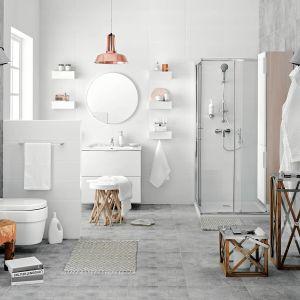 Pomysł na aranżację przestronnej łazienki. Na zdjęciu mydelniczka, uchwyt na papier toaletowy oraz szklanki z serii Audrey. Fot. Ferro
