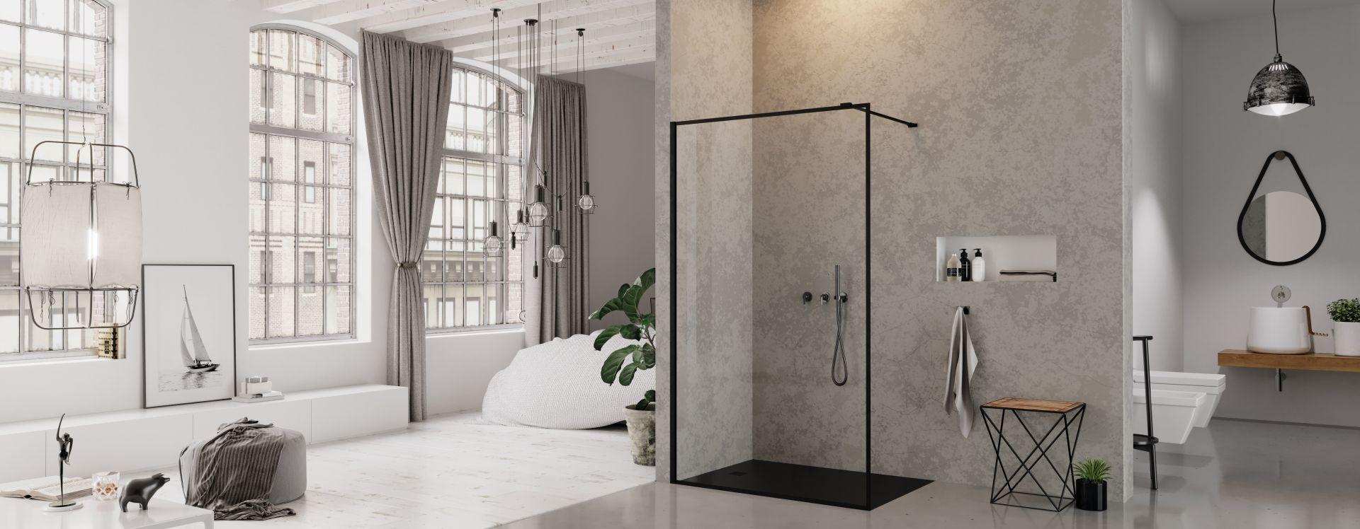 Salon kąpielowy w nowojorskim stylu. Na zdjęciu kabina prysznicowa New Modus Black. Fot. New Trendy