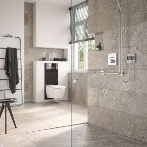 Dziś mówiąc o kabinie mamy coraz częściej na myśli odpowiednio zaprojektowaną strefę prysznicową, pozbawioną barier i… brodzika, z odwodnieniem liniowym. Fot. TECE