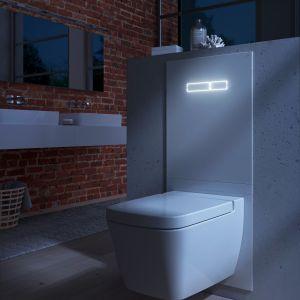 Wśród innowacji technologicznych do łazienek warto wymienić bezdotykowe przyciski spłukujące i wielofunkcyjne terminale WC. Na zdjęciu terminal TECElux. Fot. TECE