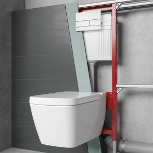 Dzięki rozwiązaniom podtynkowym toalety stały się bardziej dyskretne i higieniczne. Stelaż TECEprofil i przycisk TECEsquare II. Fot. TECE