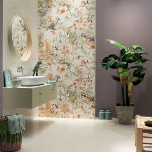 Płytki ceramiczne z tropikalnym dekorem z kolekcji Modern Pearl marki Tubądzin. Fot. Tubądzin