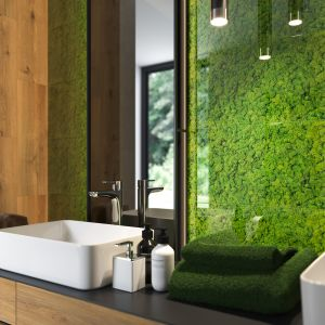 Szklane Inserto z kolekcji płytek Fresh Moss marki Cersanit z dekorem imitującym mech. Fot. Cersanit