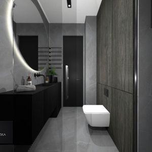 Pomysł na ciemną łazienkę. Proj. Monika Pniewska