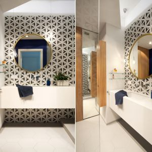 Aranżacja łazienki z okrągłym lustrem. Proj. Soma Architekci. Fot. Soma Architekci, www.soma-architekci.pl