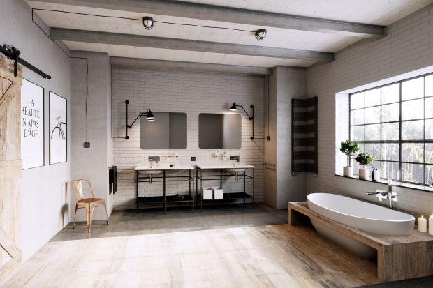 Dysponując przestronną łazienką możemy urządzić ją niemal dowolnie. Zobaczcie gotowy pomysł na aranżację w stylu industrialnym.