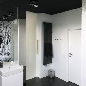 Czarno-biała łazienka. Proj. Dominik Respondek. Fot. Bartosz Jarosz