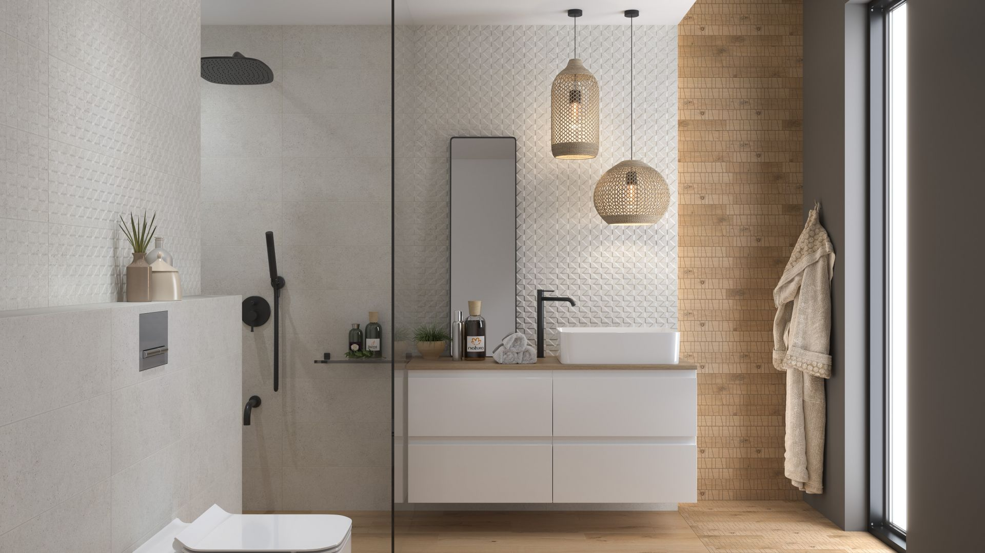 Minimalizm w łazience: płytki ceramiczne z kolekcji Kavir. Fot. Cersanit