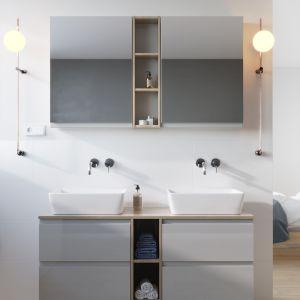 Meble łazienkowe z kolekcji Moudo marki Cersanit z frontami w kolorze szarym. Fot. Cersanit