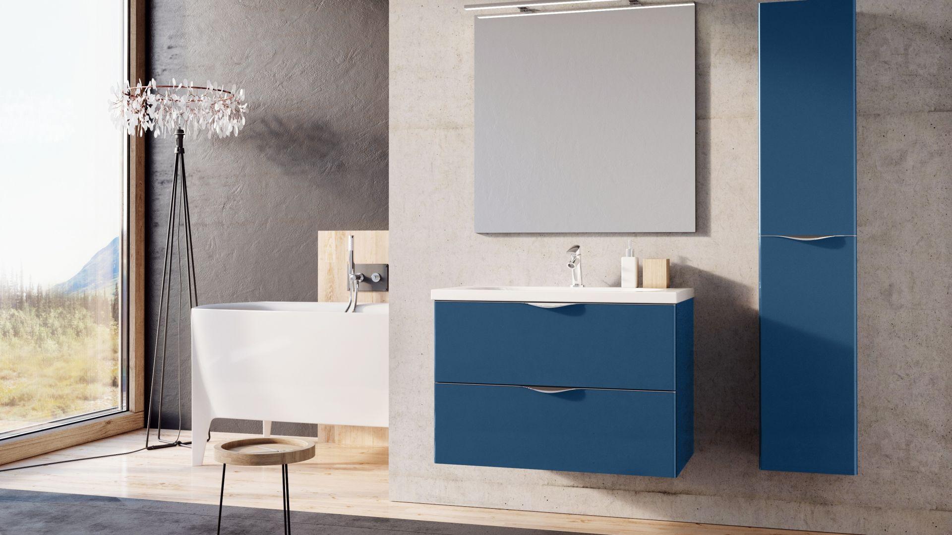 Meble łazienkowe z kolekcji Ambio marki Elita z frontami w kolorze niebieskim. Fot. Elita
