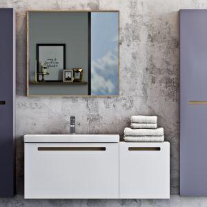 Meble łazienkowe z kolekcji Senso marki Defra z frontami w kolorze fioletowym. Fot. Defra