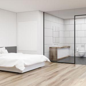 Modna strefa prysznica. Na zdjęciu część kąpielowa i kabina prysznicowa ze szkłem w czarnych profilach CDA Polska. Fot. CDA Polska