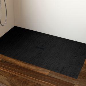 Modna strefa prysznica. Na zdjęciu ultrapłaski brodzik Helios w kolorze czarny dekatyzowany marki Roca. Fot. Roca