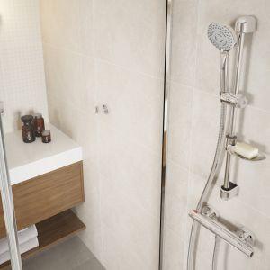 Komfortowa strefa prysznica: zestaw natryskowy przesuwny, 3-funkcyjny Tutti. bateria termostatyczna natryskowa ścienna Trinity. Fot. Ferro