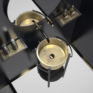 TONDO PLUS to umywalka wykonana z innowacyjnego materiału VetroFreddo, będącego mieszanką szklanych pigmentów i żywic, dostępna w matowej bieli, czerni, a także kolorach Gold Lead i Silver Leaf. Fot. Glass Design