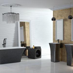 Wykonane z odlewu mineralnego umywalki wolnostojące z serii ASSOS dostępne są we wszystkich kolorach palety RAL, a także w wykończeniu Besco Glam w kolorach złotym, srebrnym i grafitowym. Fot. Besco