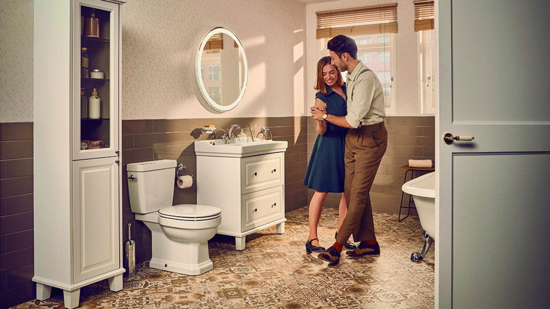 Do łazienki w stylu retro: kolekcja łazienkowa (ceramika i meble) Carmen marki Roca. Fot. Roca