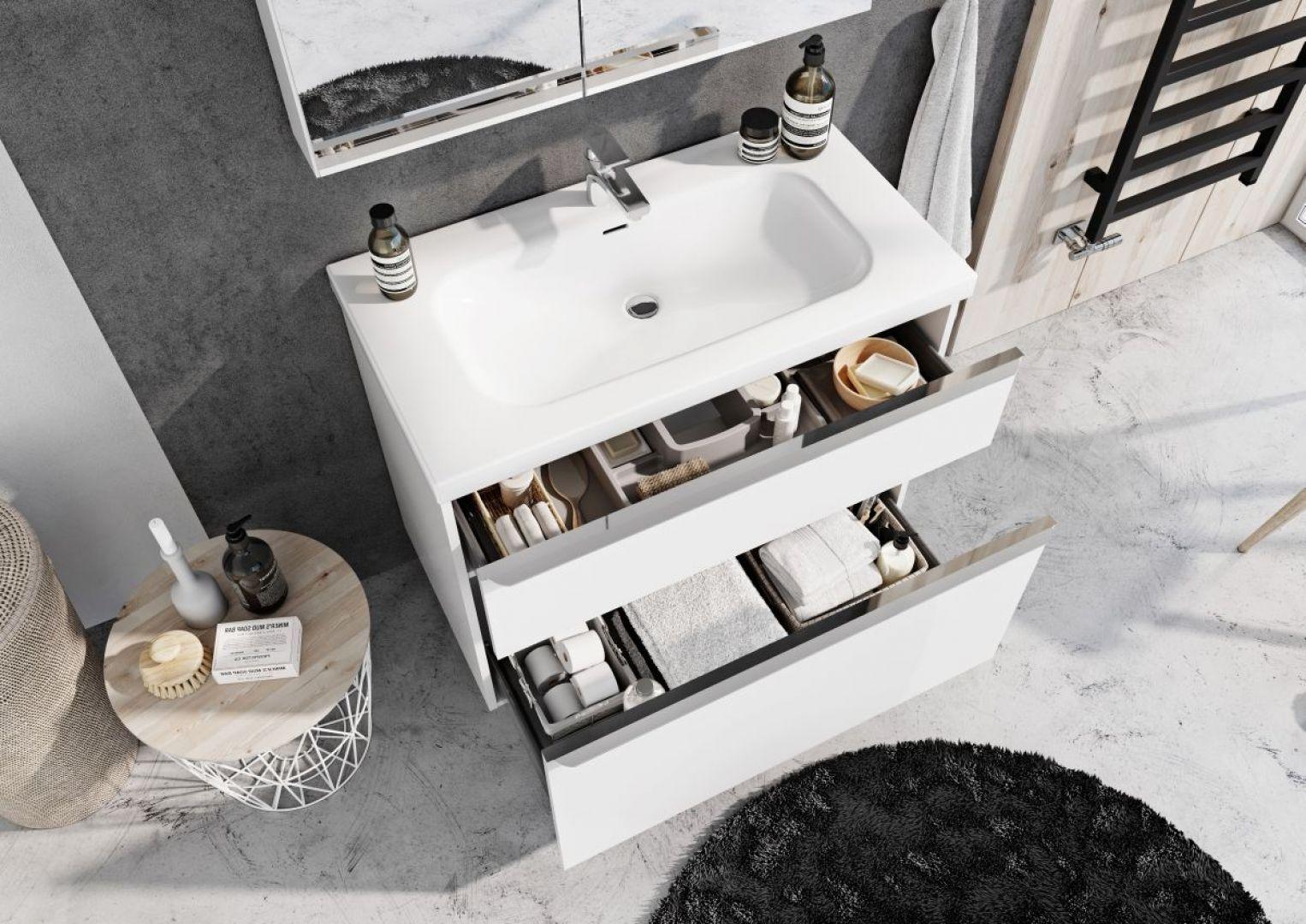 Szafka pod umywalkę z pojemnymi szufladami z organizerami z kolekcji Lofty marki Elita. Fot. Elita