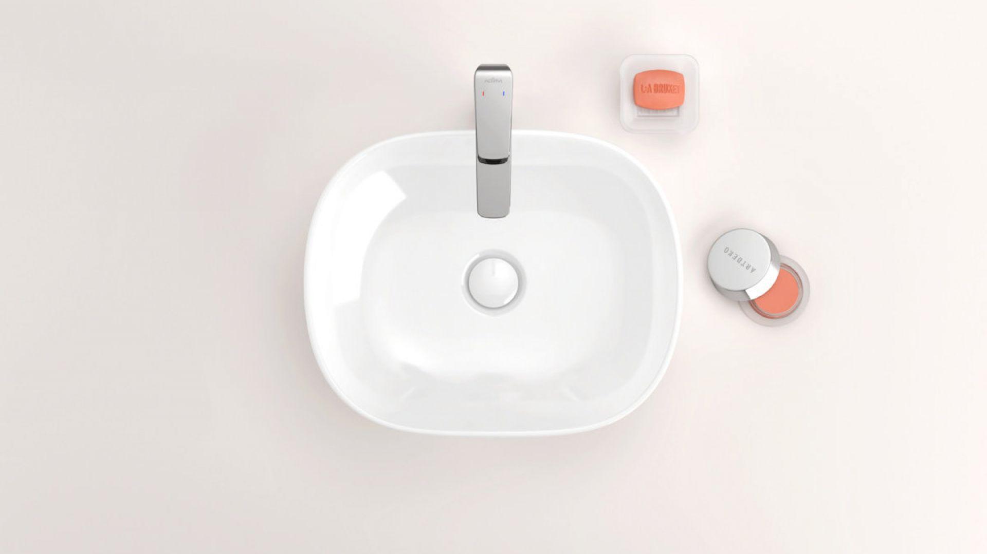 Nablatowa umywalka z cienkim rantem z serii Jima. Fot. Excellent