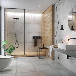 Szare płytki ceramiczne z kolekcji Stormy Bathroom marki Cersanit. Fot. Cersanit