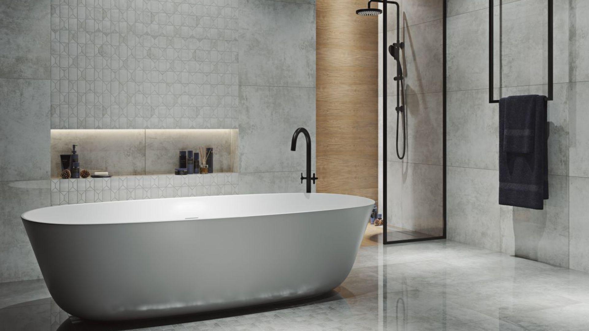 Pomysł na aranżację łazienki w stylu loft. Na zdjęciu mozaika Industrial marki Paradyż. Fot. Ceramika Paradyż