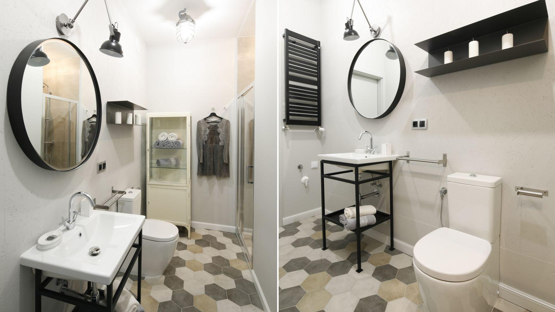 Pomysł na aranżację łazienki w stylu loft. Proj. Katarzyna Moraczewska, Barbara Przasnyska. Fot. Bartosz Jarosz