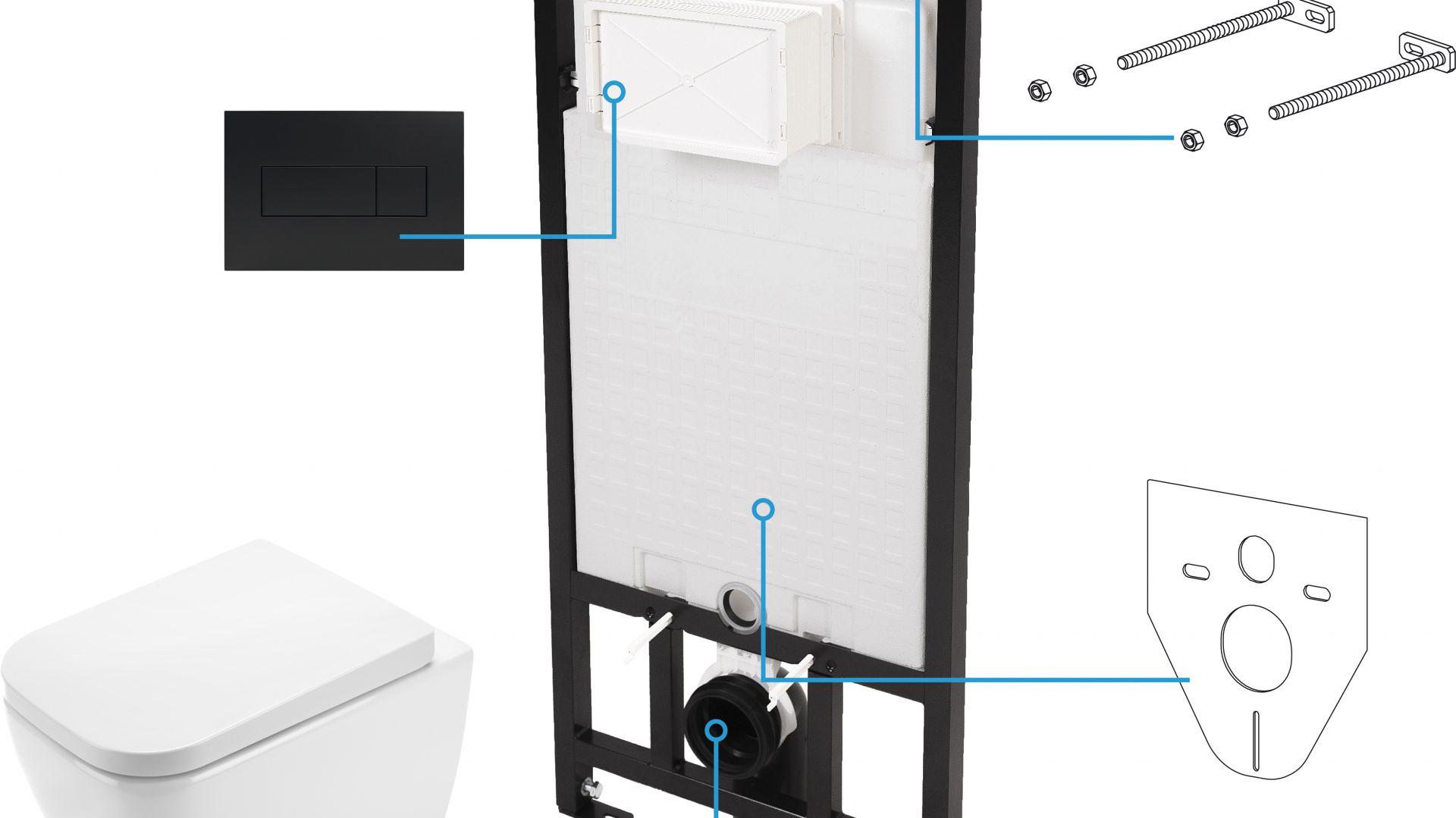 Zestaw 6w1 Hiacynt z m.in. podwieszaną miską toaletową, stelażem podtynkowym i przyciskiem spłukującym Slim czarnym. Fot. Deante