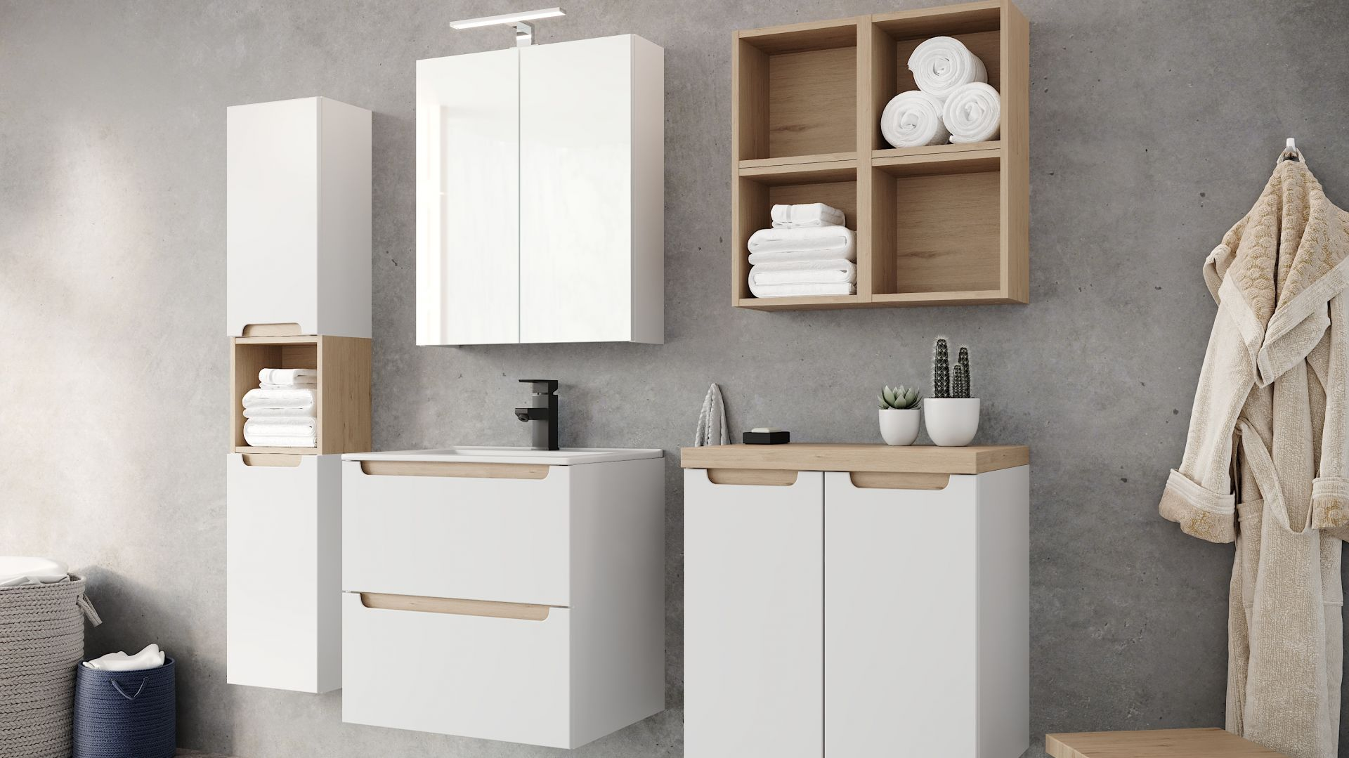 Nowoczesne meble łazienkowe z kolekcji Stilla marki Ø NAS. Fot. Deftrans
