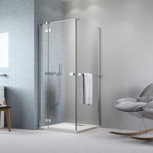 Sposób na małą łazienkę: kabina prysznicowa z relingiem Fuenta KDJ marki Radaway. Fot. Radaway
