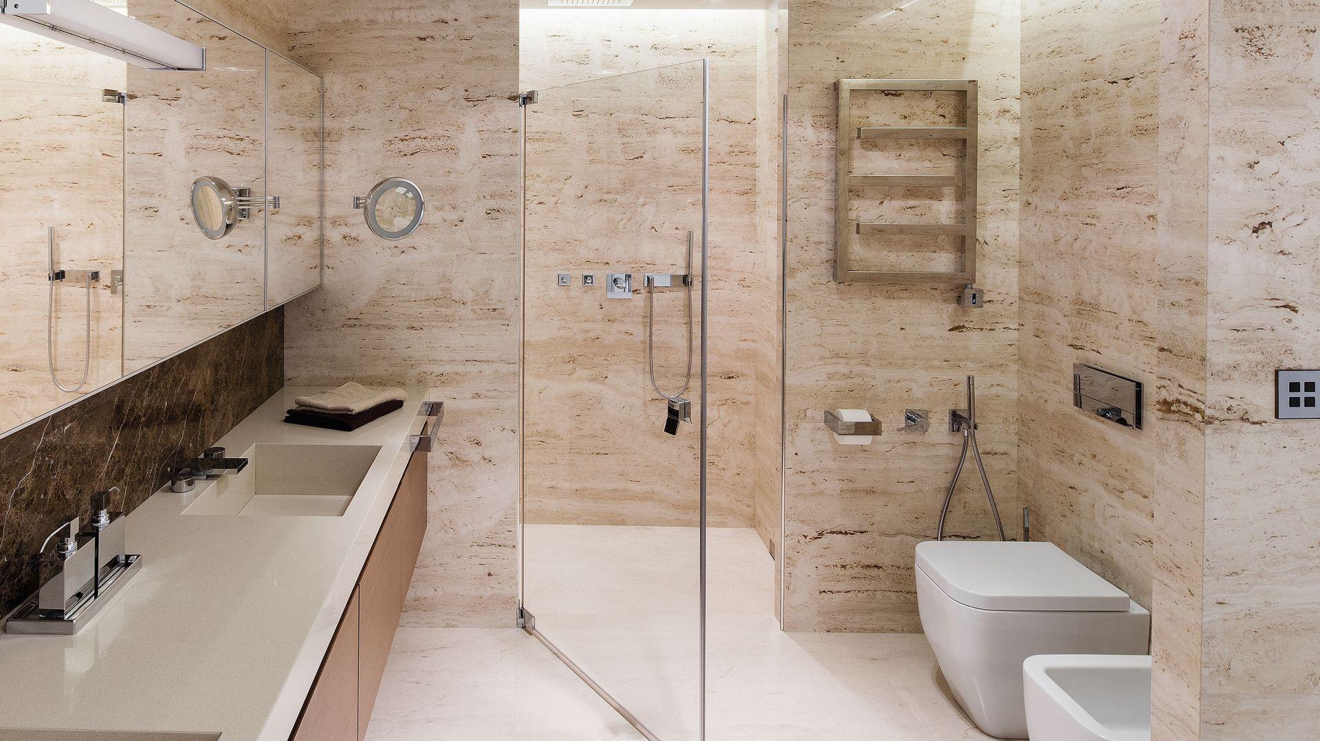 Pomysł na blat w łazience. Proj. Anna Fodemska. Fot. Bartosz Jarosz