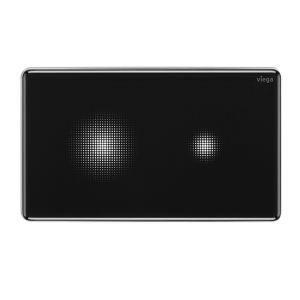 """Bezdotykowa obsługa, delikatnie zaokrąglone krawędzie i czarne szkło, nadające lekkości i blasku – przycisk Visign for More 205 sensitive to połączenie """"emocjonalnego"""" designu z maksymalną funkcjonalnością. Wystarczy zbliżyć dłoń do wybranego pola, aby uruchomić spłukiwanie. Pola w formie pikselowej chmurki stają się widoczne, kiedy podejdziemy na odległość około 250 cm. Fot. Viega"""