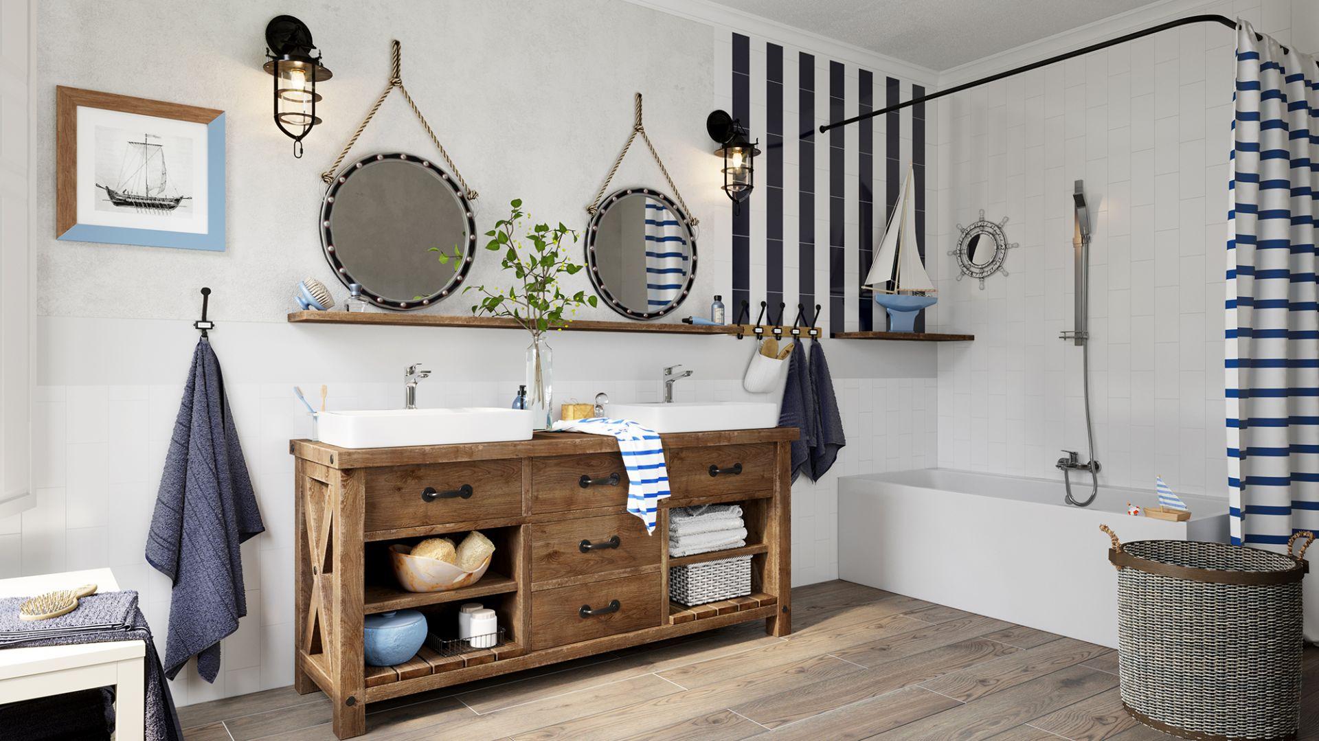 Aranżacja łazienki w stylu marynistycznym. Na zdjęciu armatura z serii Stratos i zestaw natryskowy Quadro. Fot. Ferro