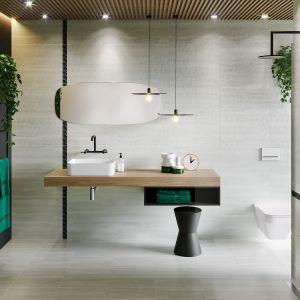 Płytki ceramiczne do łazienki w stylu loft: kolekcja Mystic Cemento marki Cersanit. Fot. Cersanit