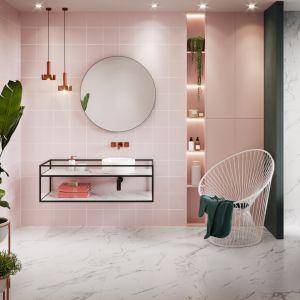 Kolorowe płytki ceramiczne z kolekcji Monoblock Pastel Pink marki Opoczno. Fot. Opoczno